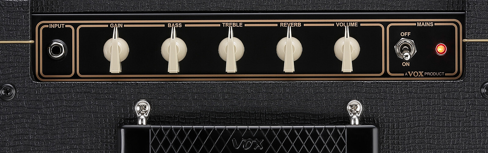 closeup of controls on VOX AC10C1