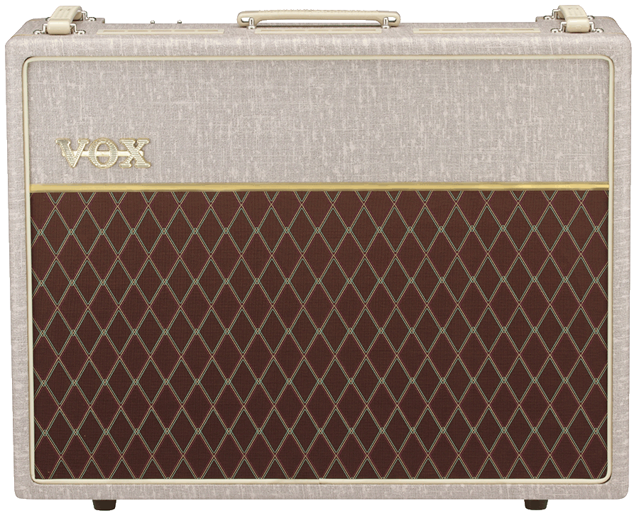 front view of white and brown VOX amplifier