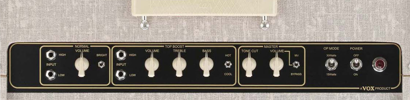 closeup of controls on VOX AC30