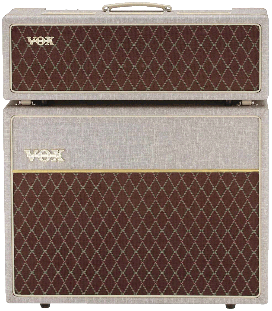 front view of grey and brown VOX cabinet