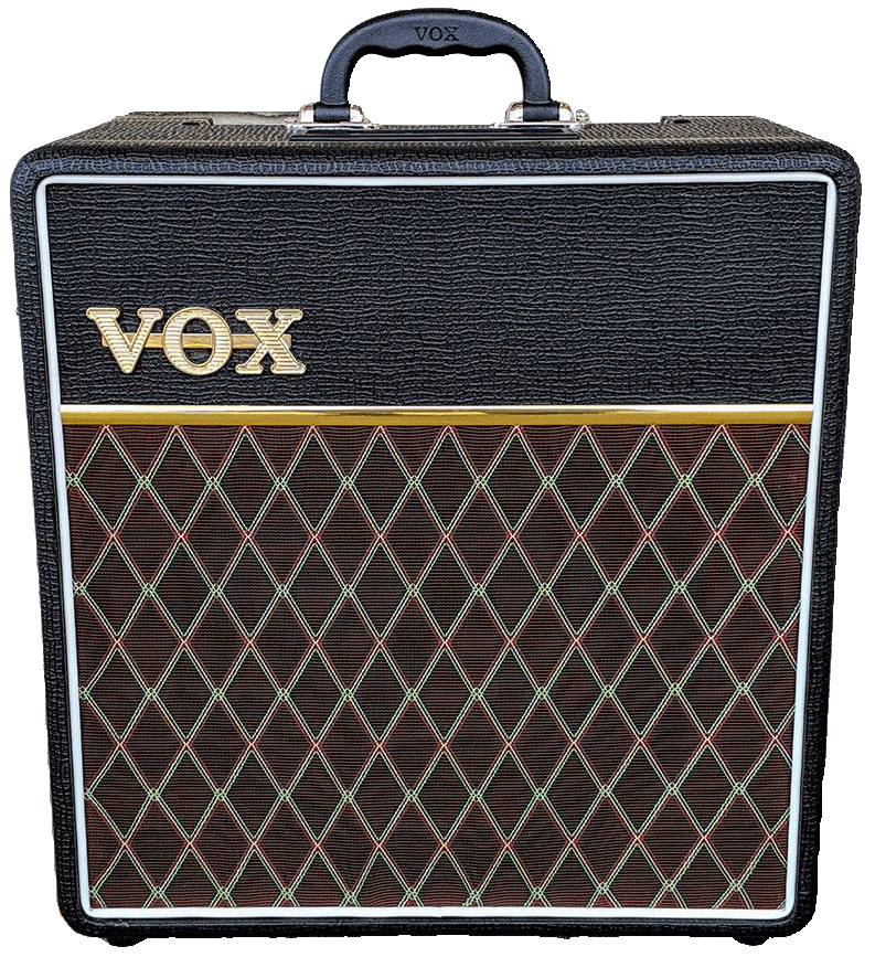 front view of brown and black VOX amplifier
