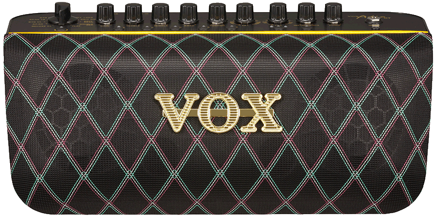 front view of black VOX practice amplifier