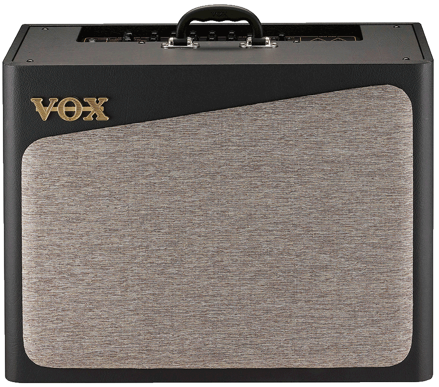 front view o grey and black VOX amplifier