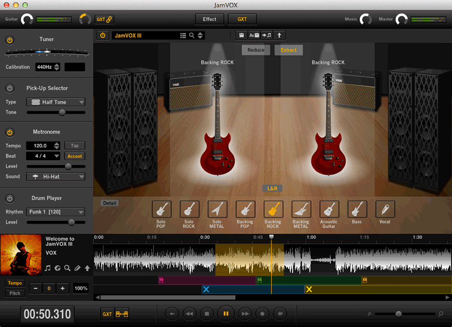 screenshot of Jam VOX Software in use