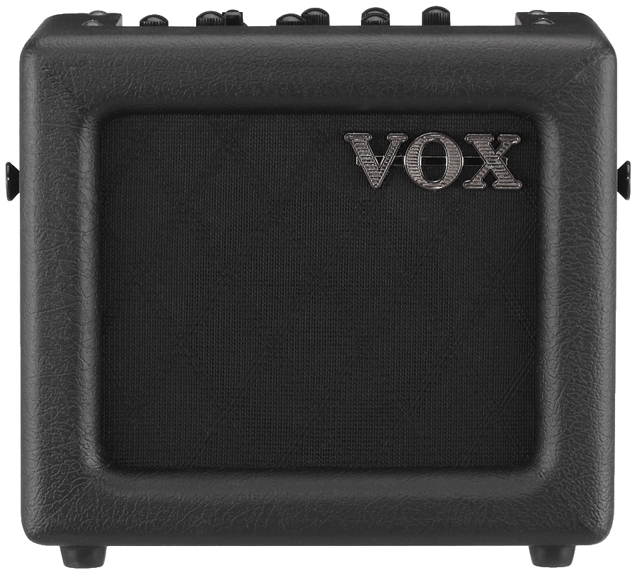 front view of black VOX mini amplifier
