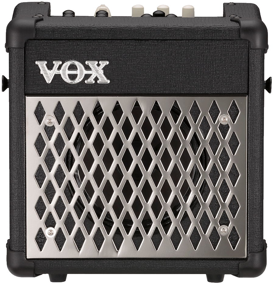 front view of black and silver VOX mini amplifier