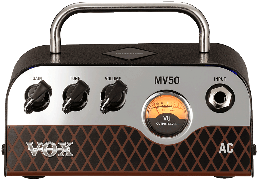front view of silver, brown, and black VOX mini amplifier head
