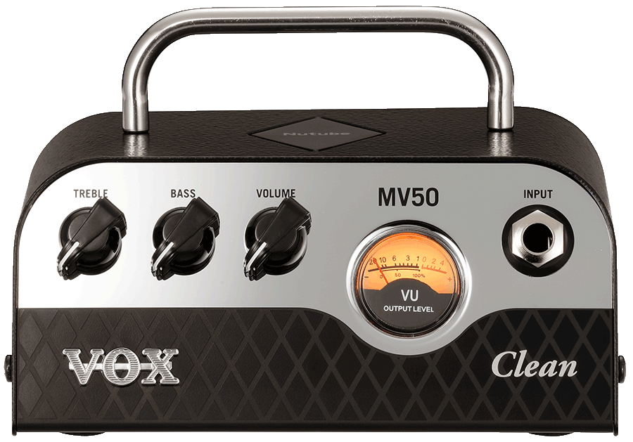 front view of black and silver VOX mini amplifier head
