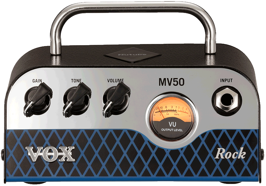 front view of white, black, and blue VOX amplifier head