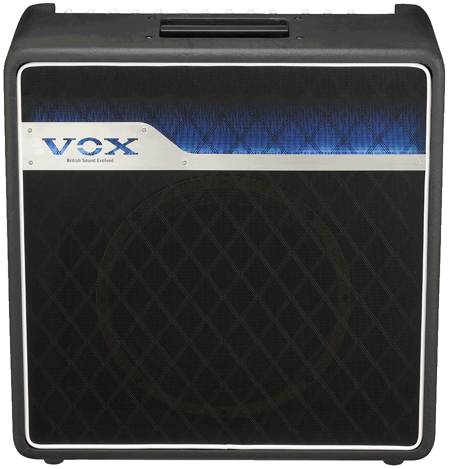 front view of black and blue VOX amplifier