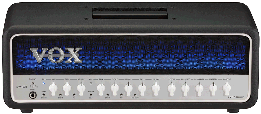 front view of black, blue, and white VOX amplifier head
