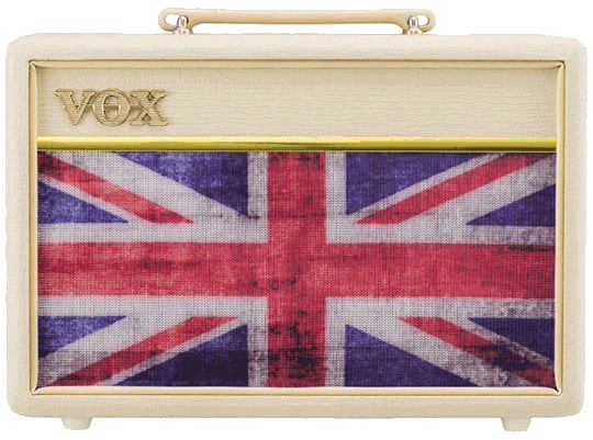 front view of white union-jack Vox amplifier