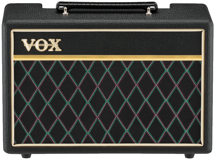 front view of black and cream VOX amplifier