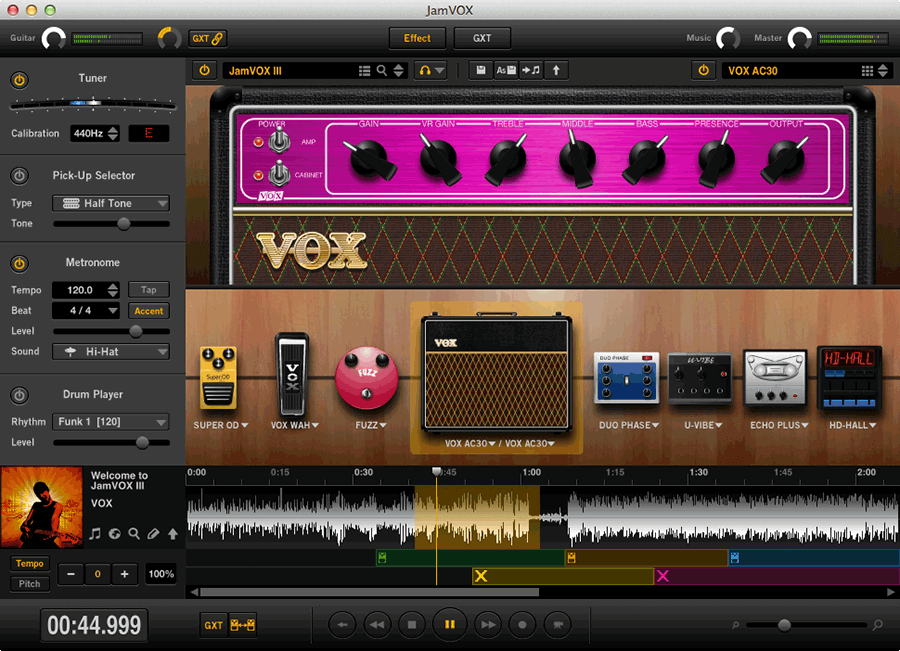 screenshot of VOX Toneroom Software in use