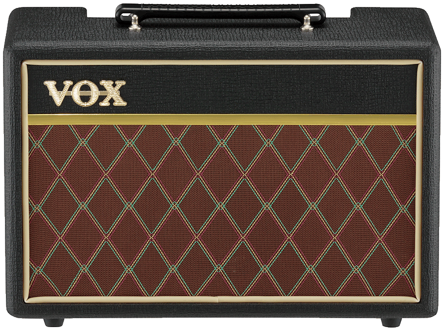 front view of red, black, and cream VOX amplifier