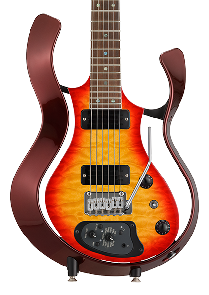 front view of orange sunburst VOX Starstream electric guitar