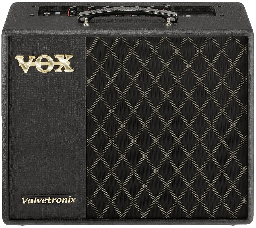 front view of black and cream-colored VOX amplifier