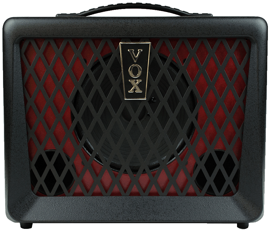 front view of red and black VOX amplifier