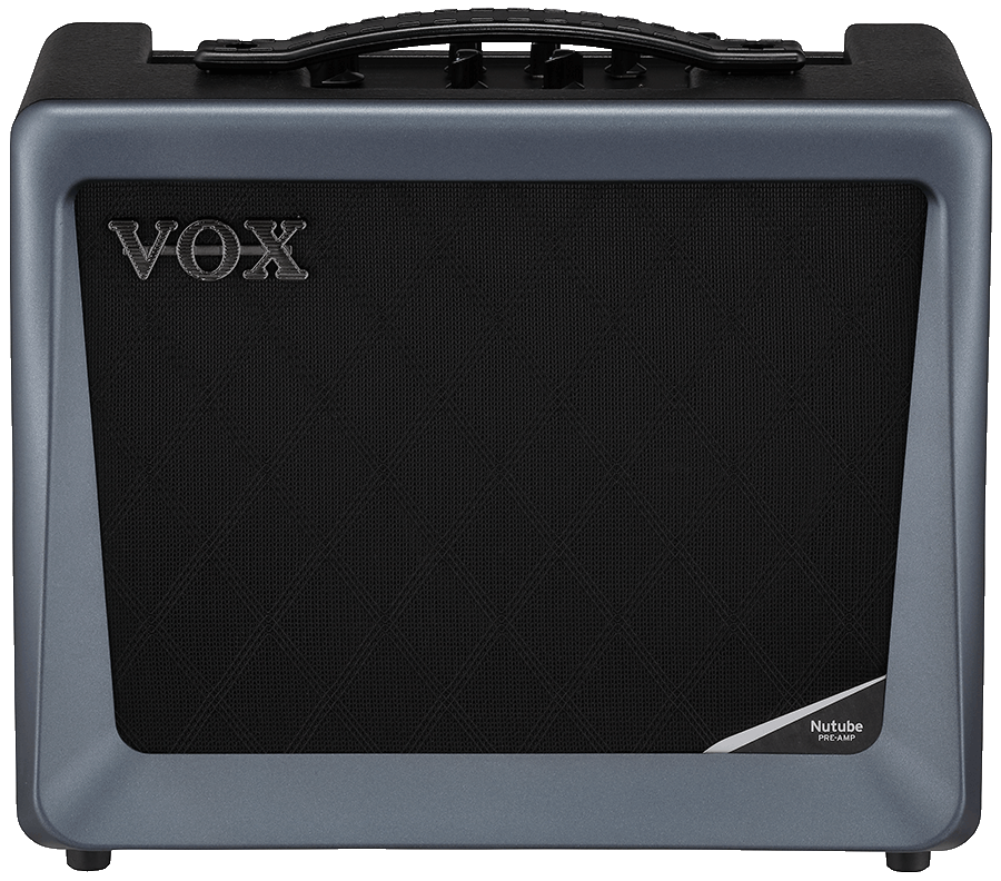 front view of grey and black VOX amplifier