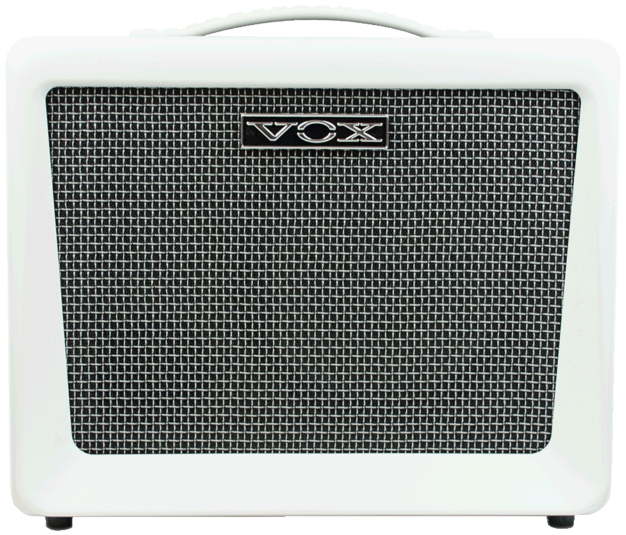 front view of white VOX amplifier