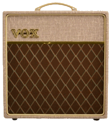 front view ofgrey and brown VOX amplifier