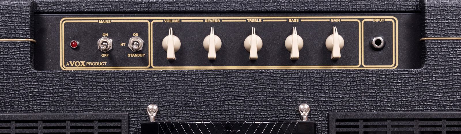 closeup of controls on VOX amplifier