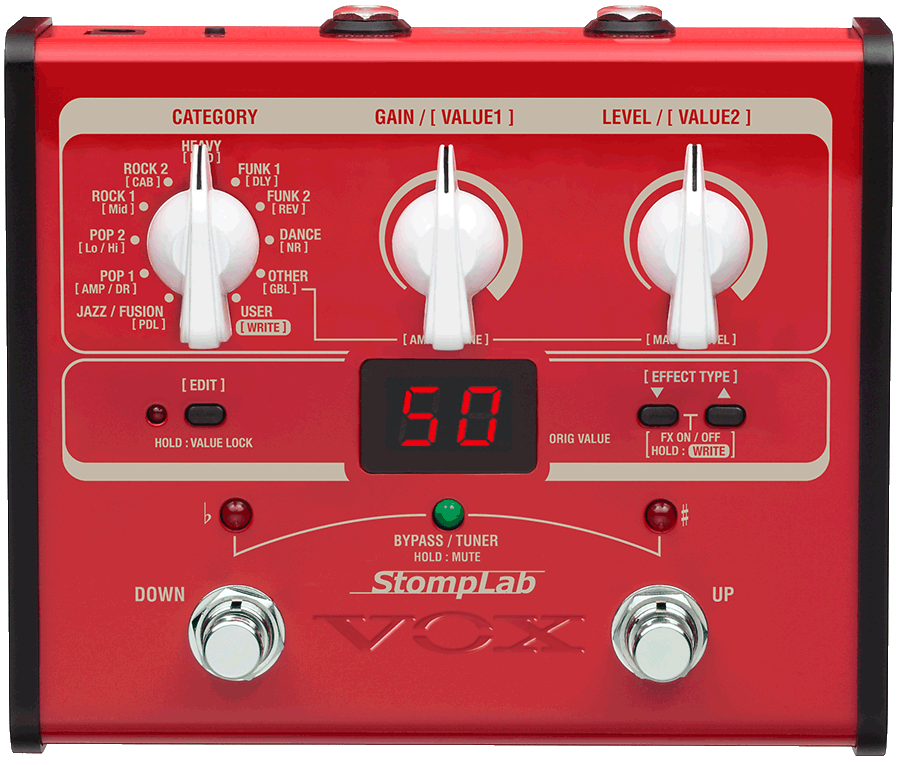 red VOX Stomplab multi -effect pedal
