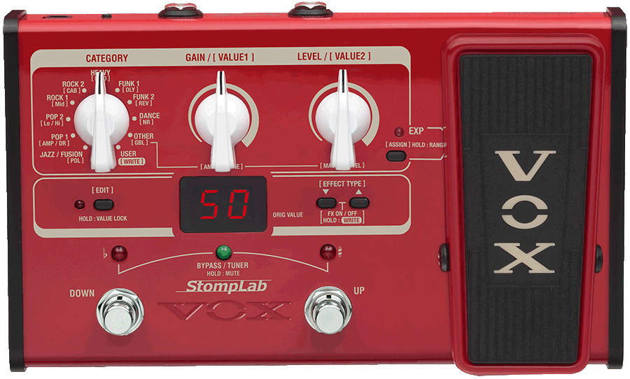 red VOX StompLab multi-effect pedal