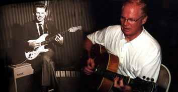 old picture of artist, Vic Flick, beside current picture of him playing accoustic guitar