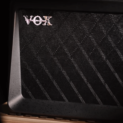 Closeup of VOX logo on VOX amplifier