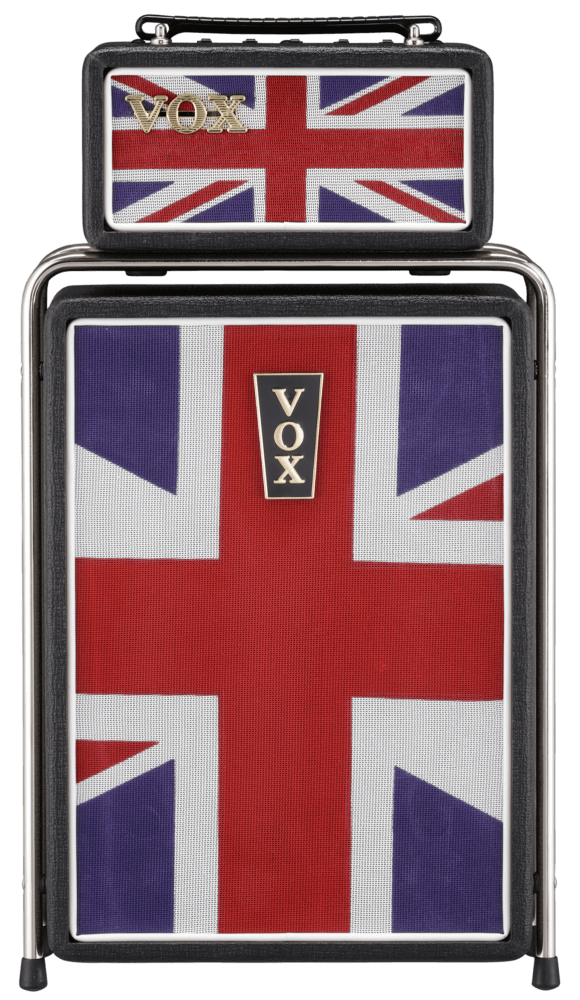 front view of VOX union jack Mini Super Beetle