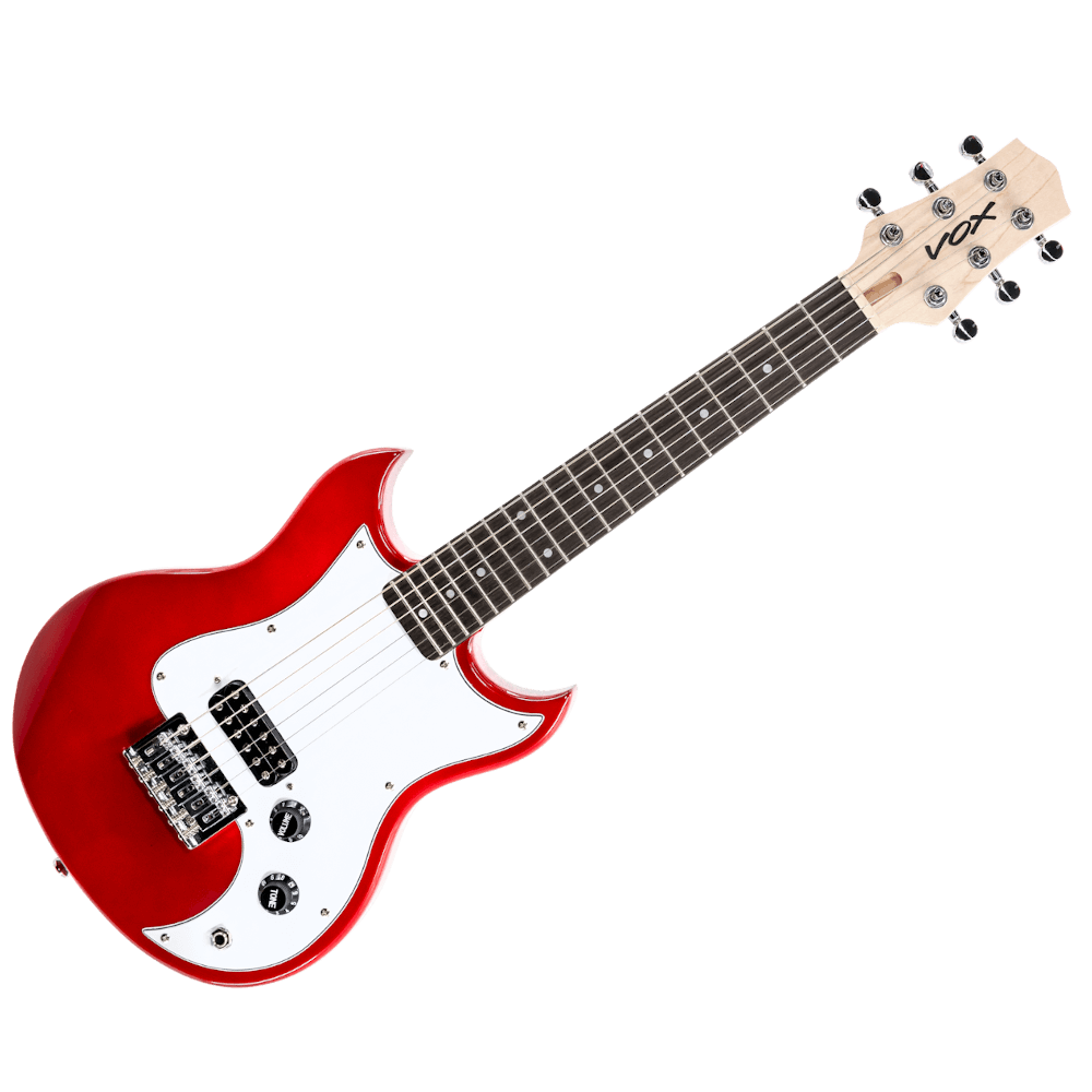 red VOX mini electric guitar