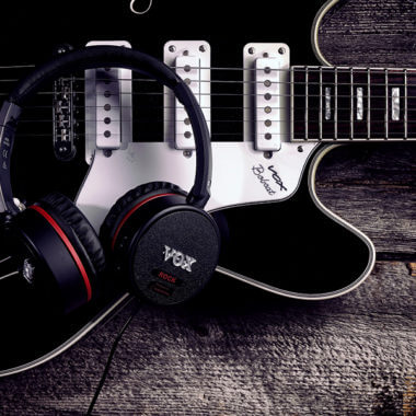VOX headphones on electric guitar