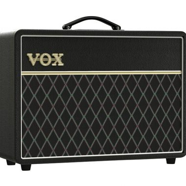 angled front view of black VOX amplifier