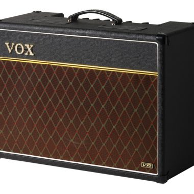 angled view of brown and black VOX amplifier