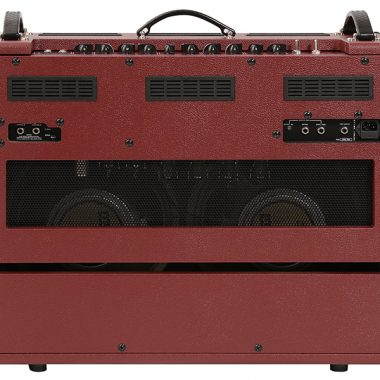 back of red and brown VOX amplifier