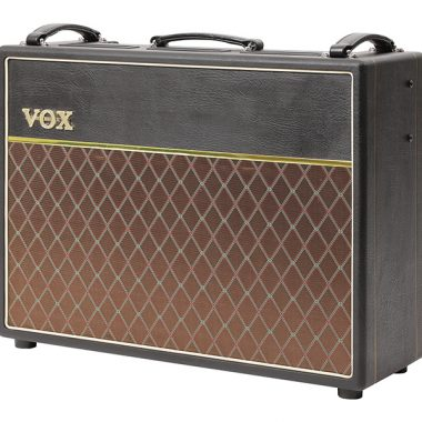 b;ack and brown VOX electric guitar