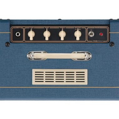 top view of blue VOX amplifier