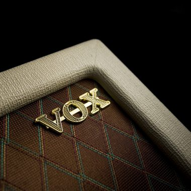 closeup of VOX logo on amplifier