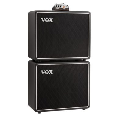 VOX tube head on top of two VOX guitar amplifiers