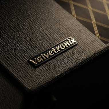 closeup of Valavetronixs label on VOX amplifier
