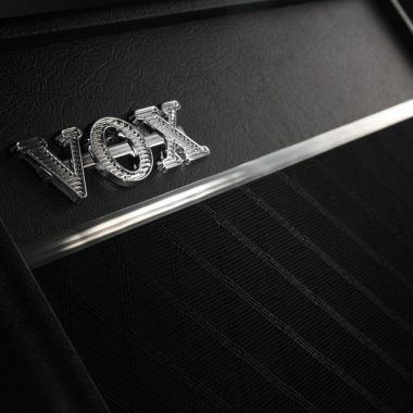 closeup of VOX label on amplifier
