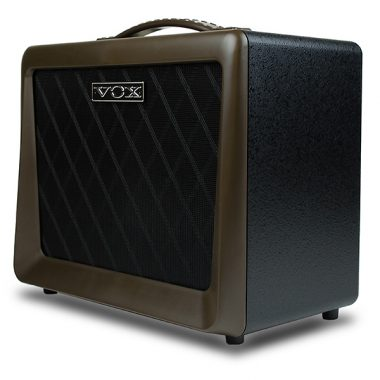 side angle of brown and black VOX amplifier